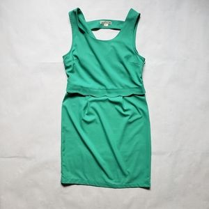 Double Zero green fitted overlay tank dress